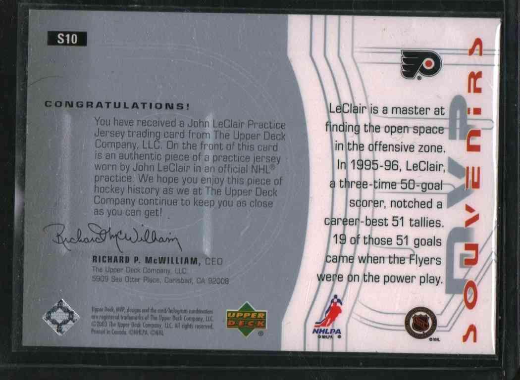 2003-04 Upper Deck MVP John Leclair #S10 card back image