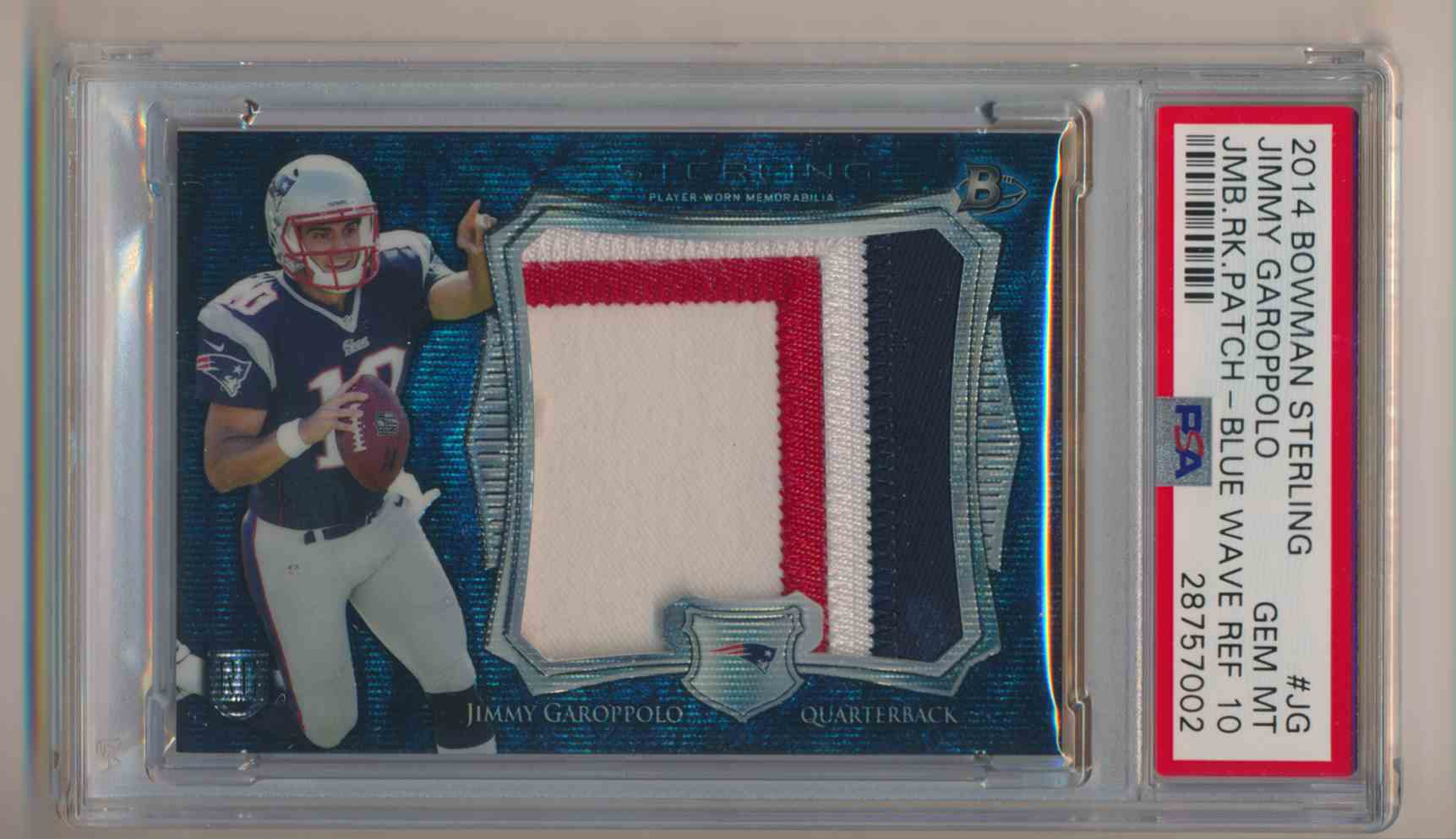 2014 Bowman Sterling Blue Wave Jimmy Garoppolo PSA 10 Gem Mint B card front image