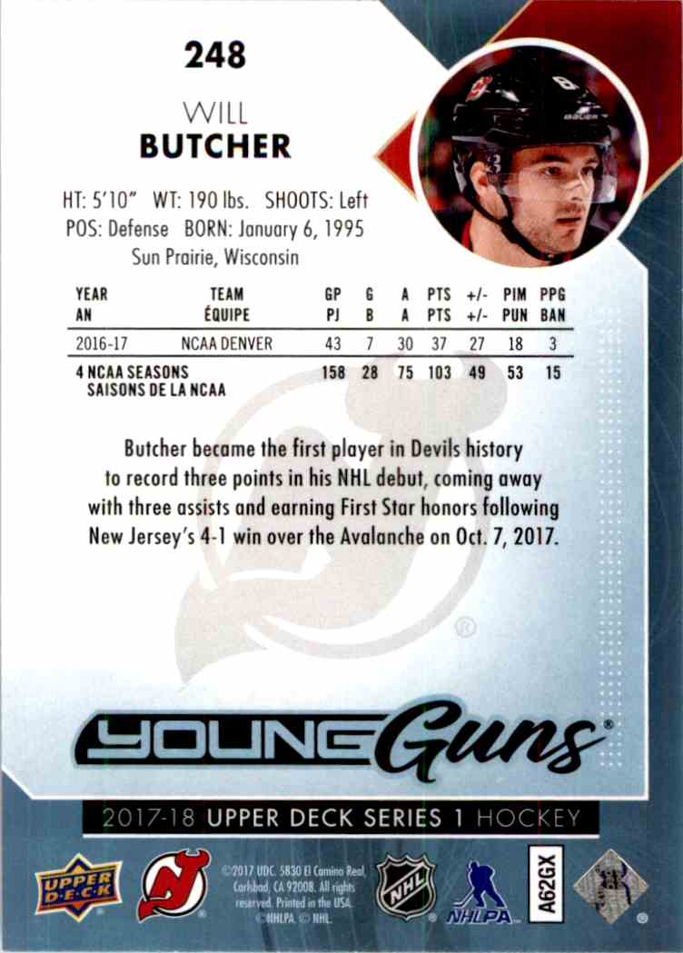 2017-18 Upper Deck Young Guns Will Butcher #248 card back image