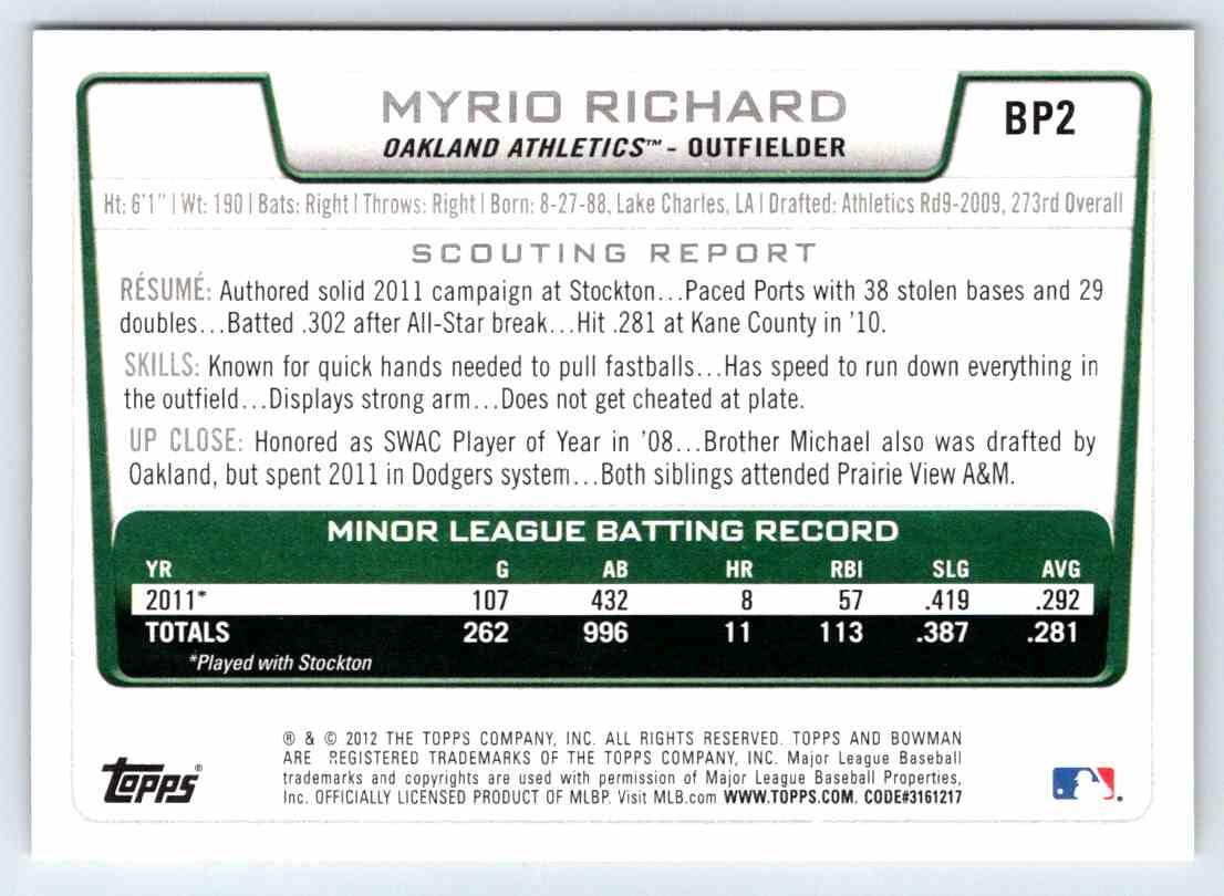 2012 Bowman Prospects Myrio Richard #BP2 card back image