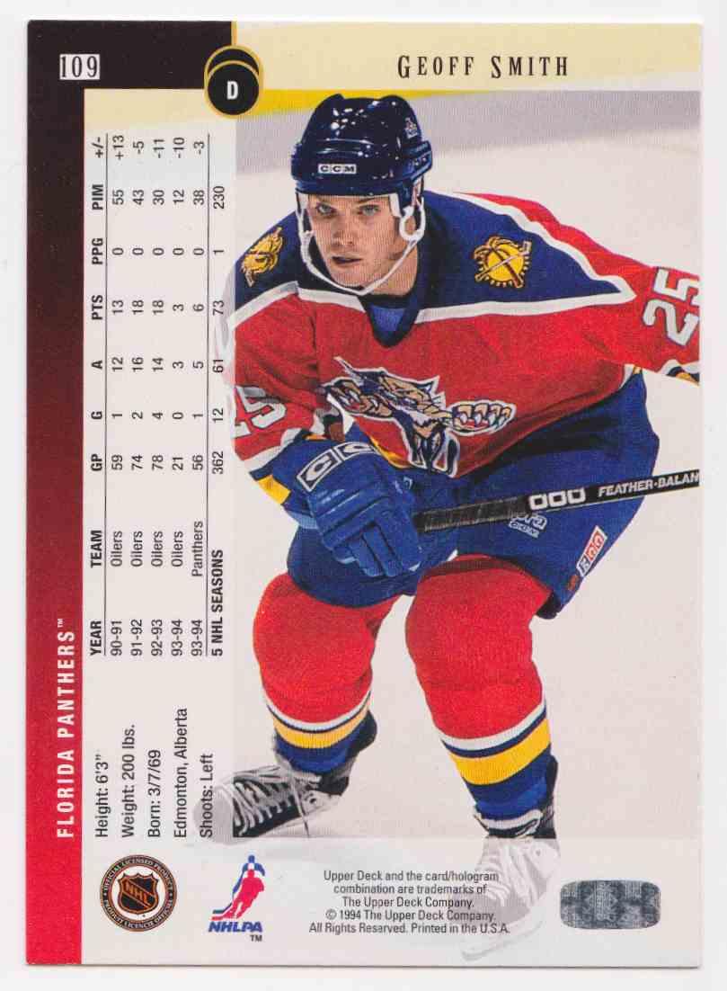 1994-95 Upper Deck Geoff Smith #109 card back image