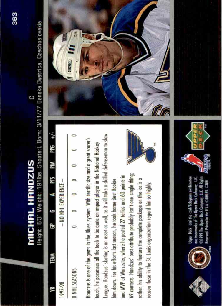 1998-99 Upper Deck Gold Reserve Michal Handzus #363 card back image
