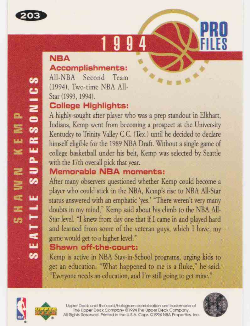 1994-95 Upper Deck Collector's Choice Base Shawn Kemp #203 card back image