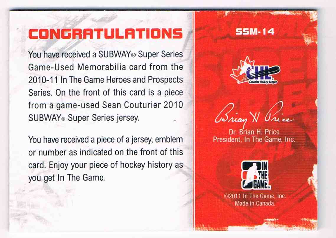 2010-11 ITG Heroes And Prospects Subway Series Jumbo Jerseys Black Subway Series Jumbo Jerseys Black Sean Couturier #SSM14 card back image