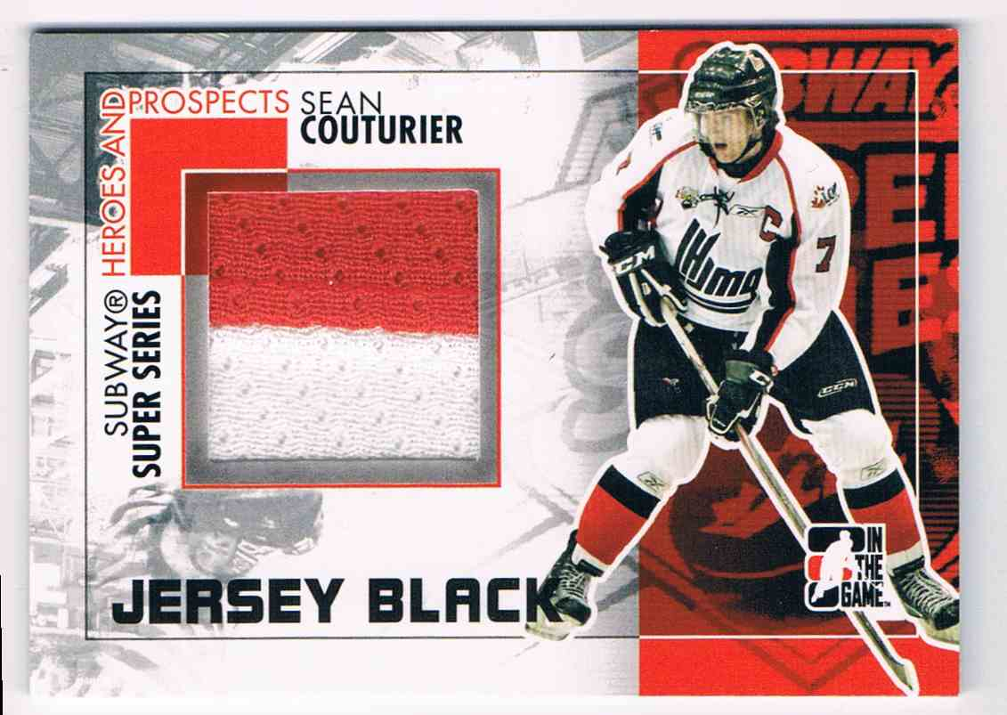 2010-11 ITG Heroes And Prospects Subway Series Jumbo Jerseys Black Subway Series Jumbo Jerseys Black Sean Couturier #SSM14 card front image