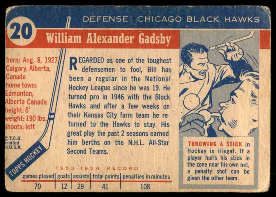 1954-55 Topps Bil Gadsby #20 card back image