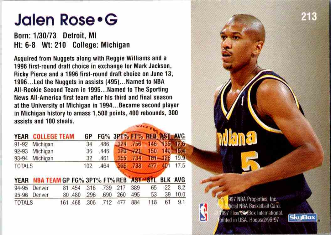 1997-98 NBA Hoops Jalen Rose #213 card back image