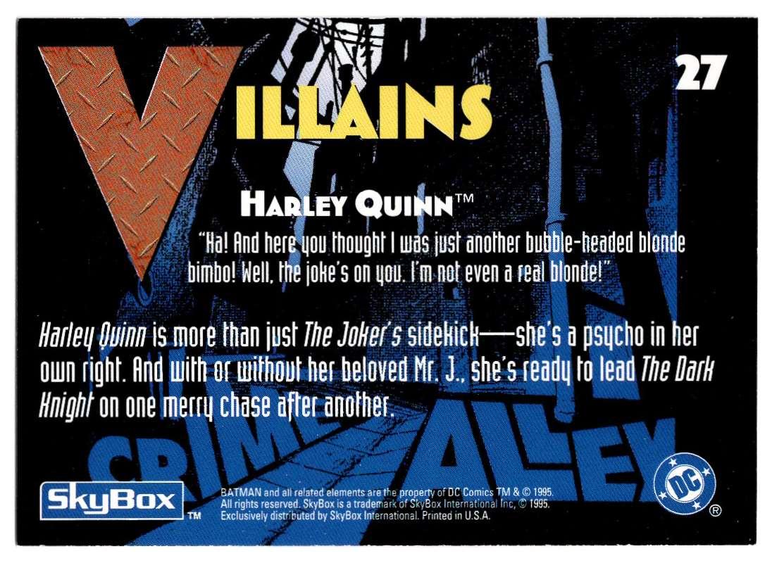 1995 Skybox Adventures Of Batman And Robin Harley Quinn #27 card back image