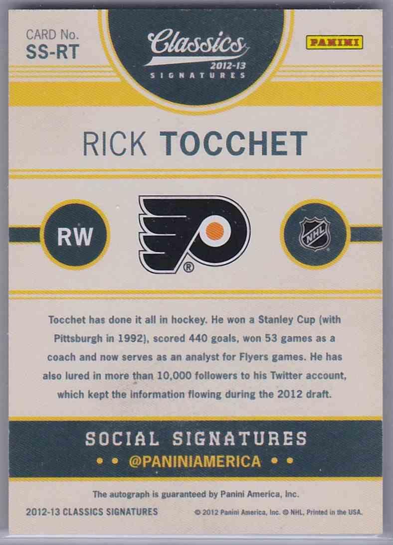 2012-13 Panini Classics Signatures Social Signatures Rick Tocchet #SSRT card back image