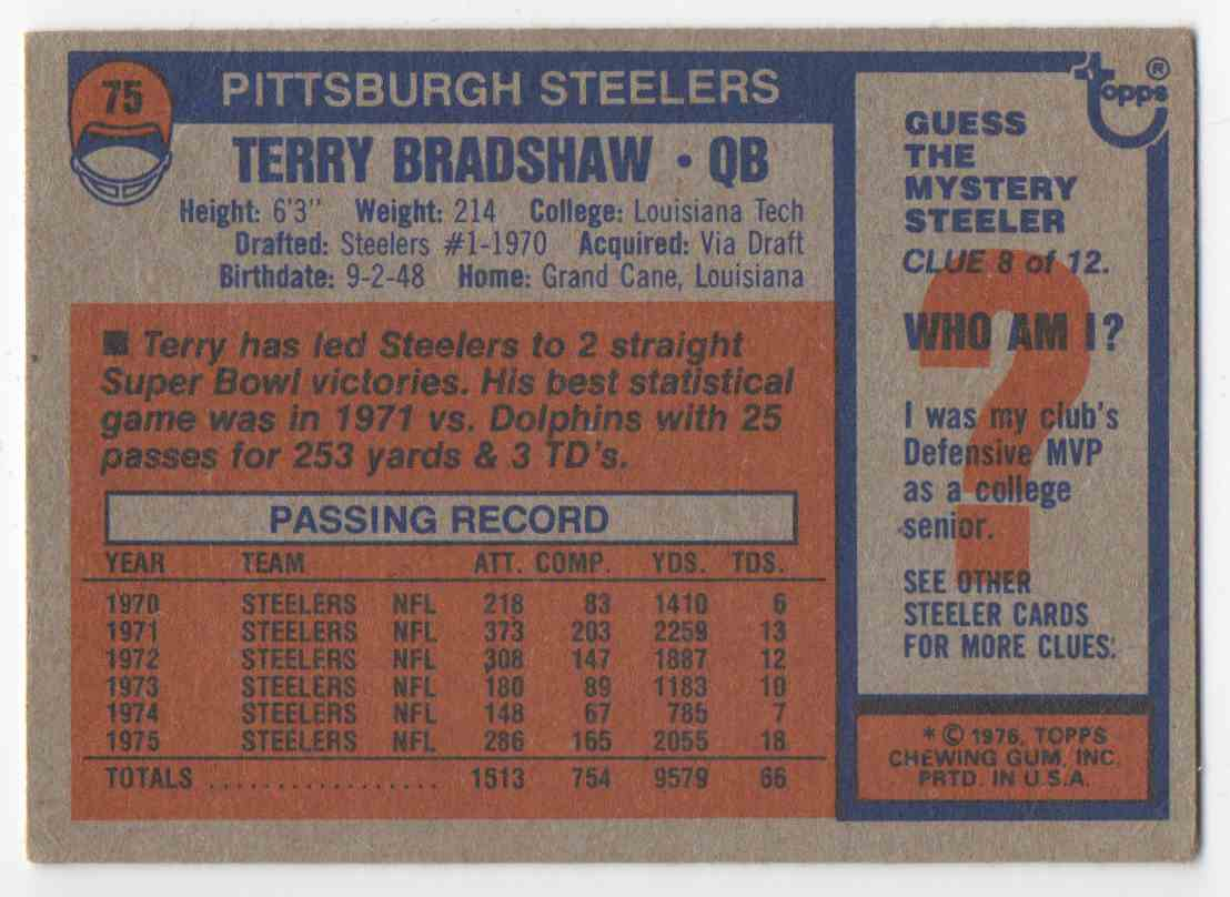 1976 Topps Terry Bradshaw #75 card back image
