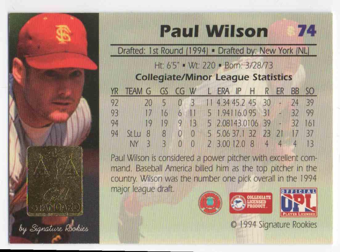 1994 Signature Rookies Gold Standard Paul Wilson #74 card back image