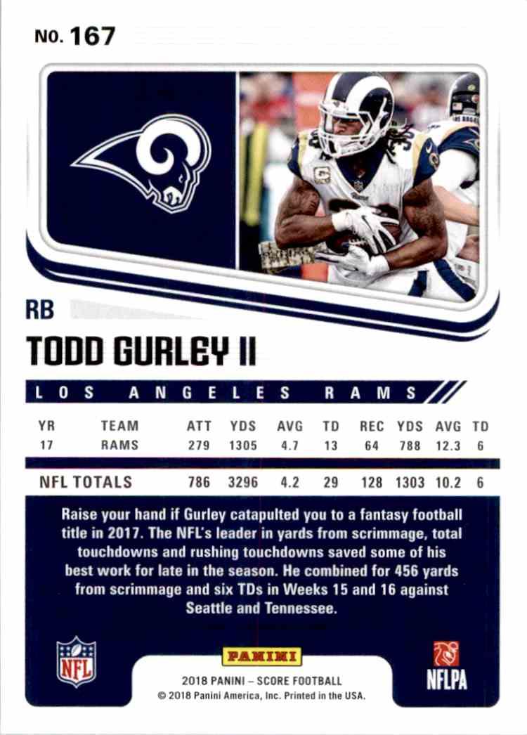 2018 Panini Score Todd Gurley II #167 card back image
