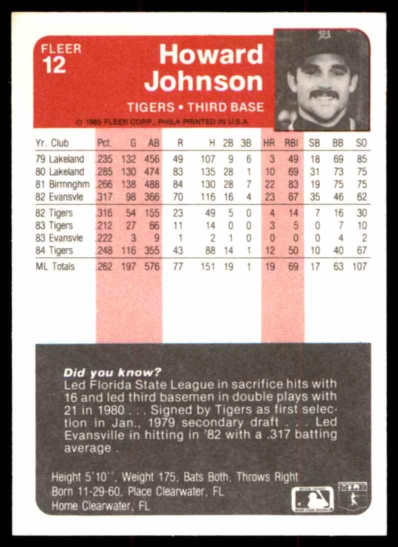 1985 Fleer Howard Johnson #12 card back image