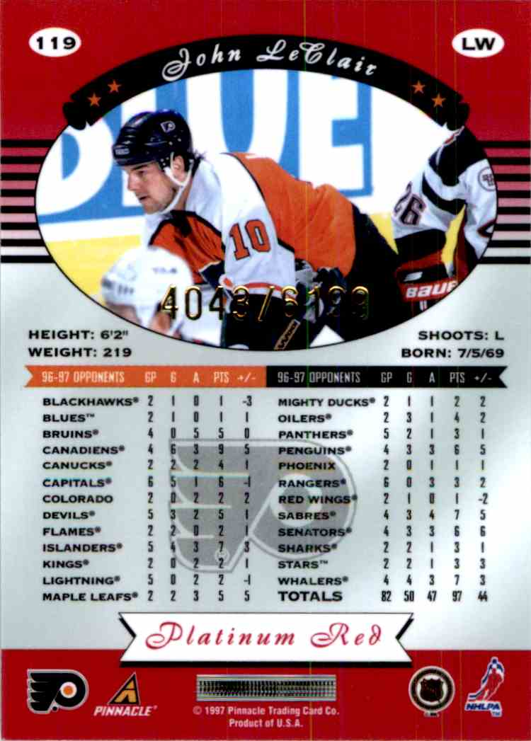 1997-98 Pinnacle Totally Certified Platinum Red John LeClair #119 card back image