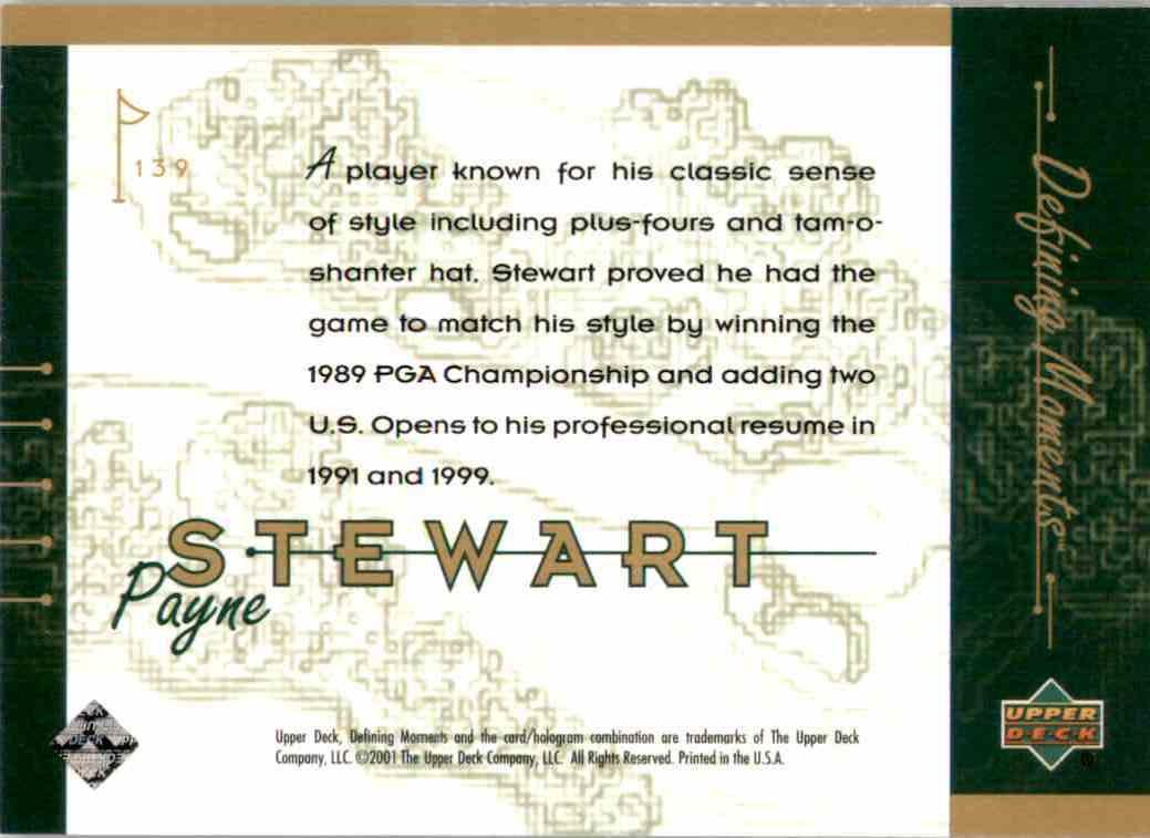 2001 Upper Deck Payne Stewart DM #139 card back image