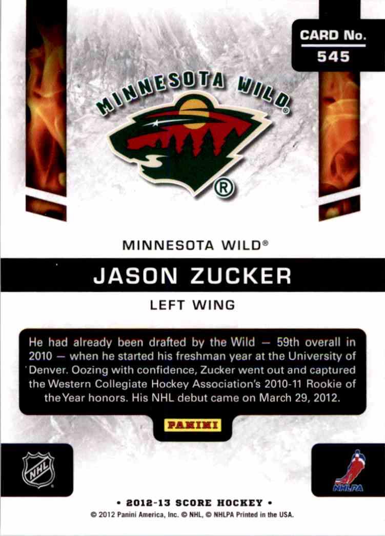 2012-13 Score Jason Zucker #545 card back image