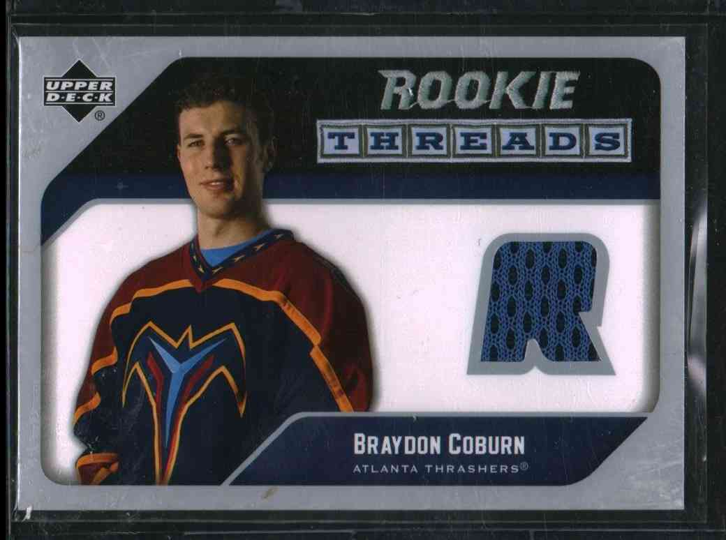 2005-06 Upper Deck Rookie Threads Braydon Coburn #RT-BC card front image