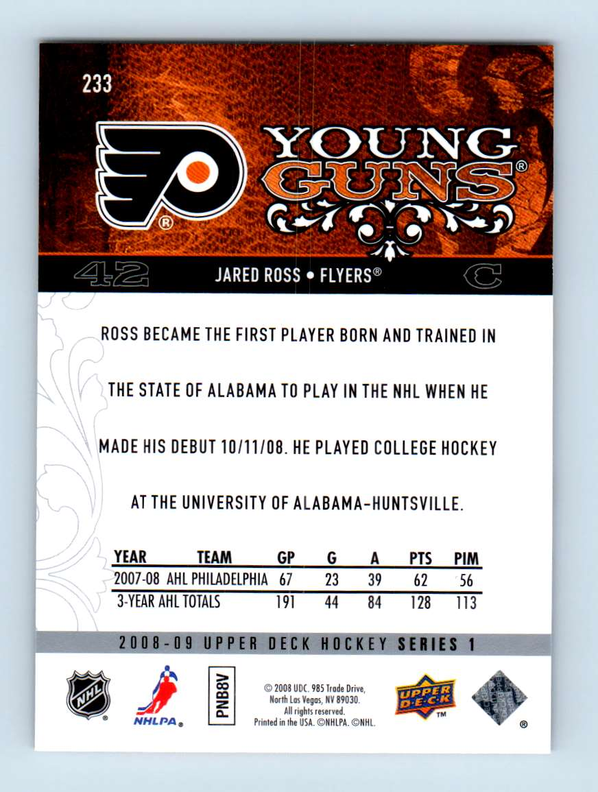 2008-09 Upper Deck Young Guns Jared Ross #233 card back image