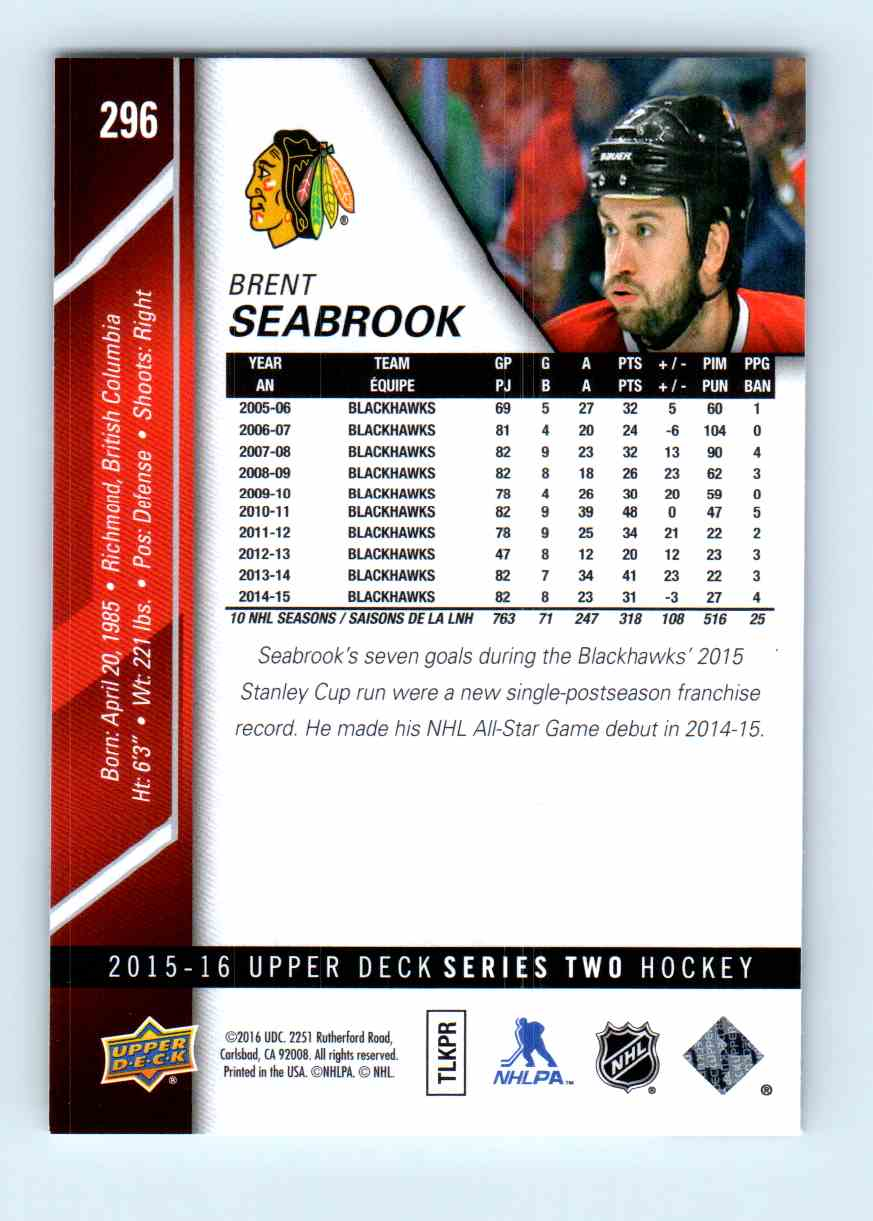 2015-16 Upper Deck Series Two Brent Seabrook #296 card back image