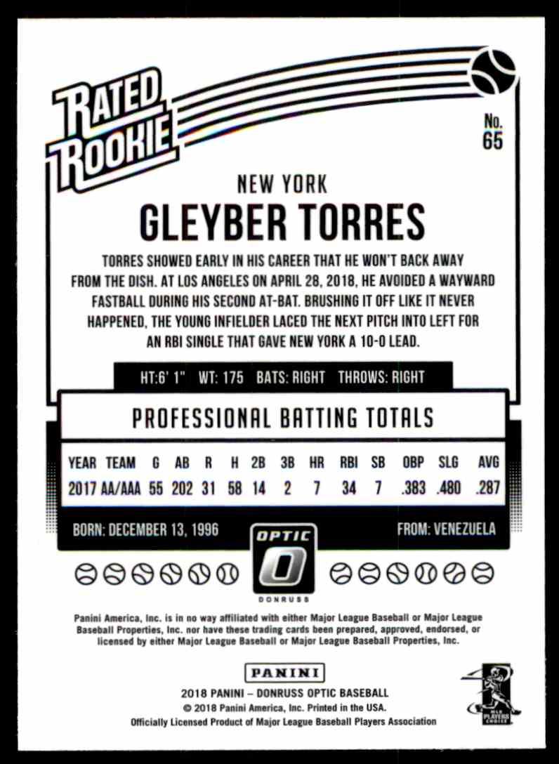 2018 Donruss Optic Gleyber Torres #65 card back image
