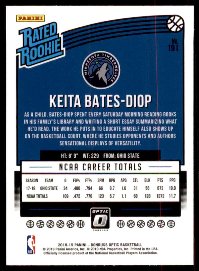 2018-19 Donruss Optic Keita Bates-Diop #191 card back image