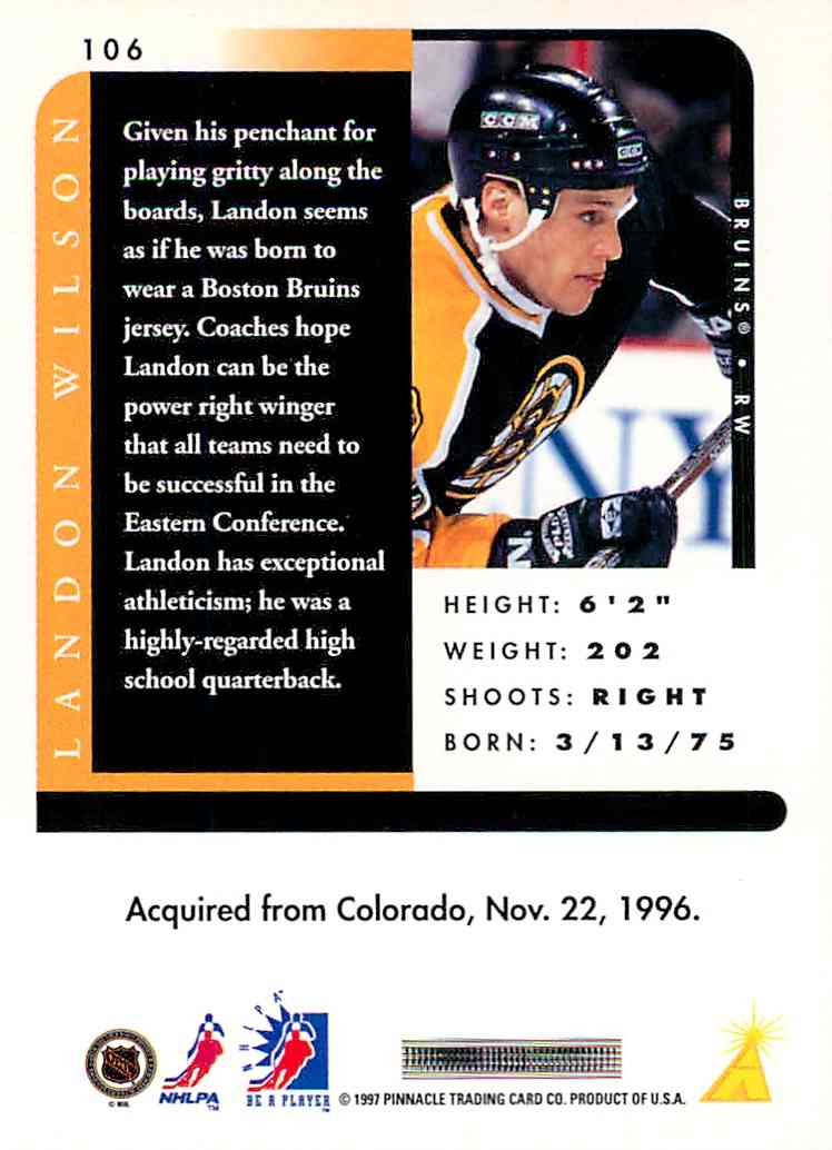 1997-98 Pinnacle Be A Player Landon Wilson #106 card back image