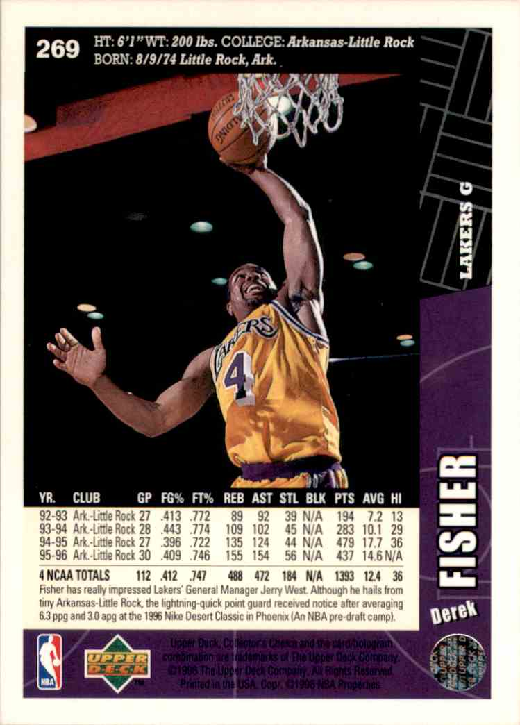 1996-97 Collector's Choice Derek Fisher #269 card back image