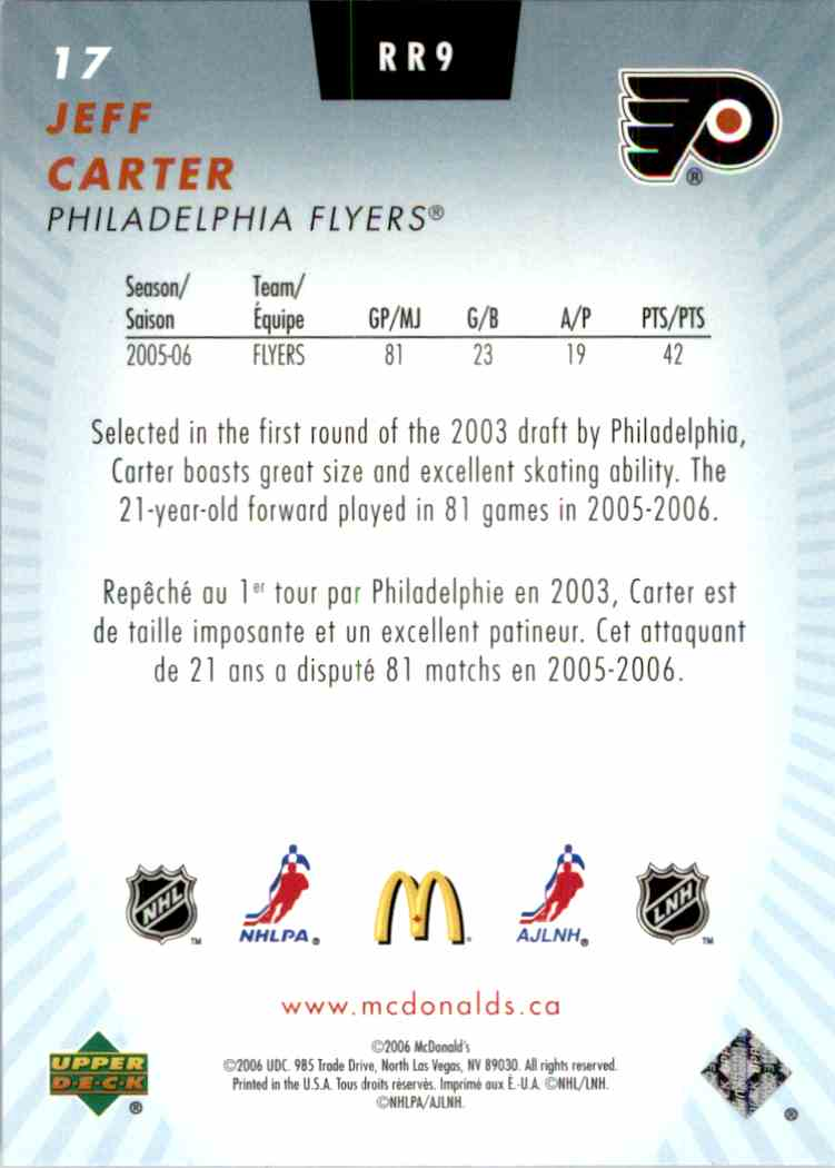 2006-07 Mcdonald's Upper Deck Rookie Review Jeff Carter #RR9 card back image