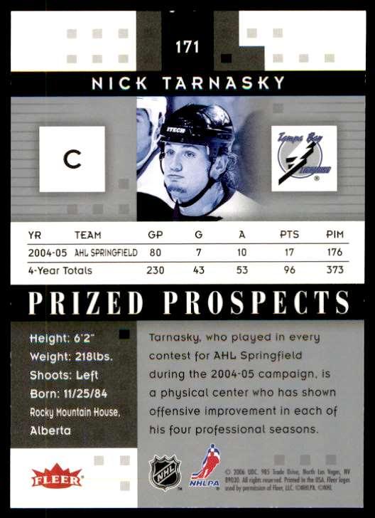 2006-07 Fleer Hot Prospects Nick Tarnasky #171 card back image