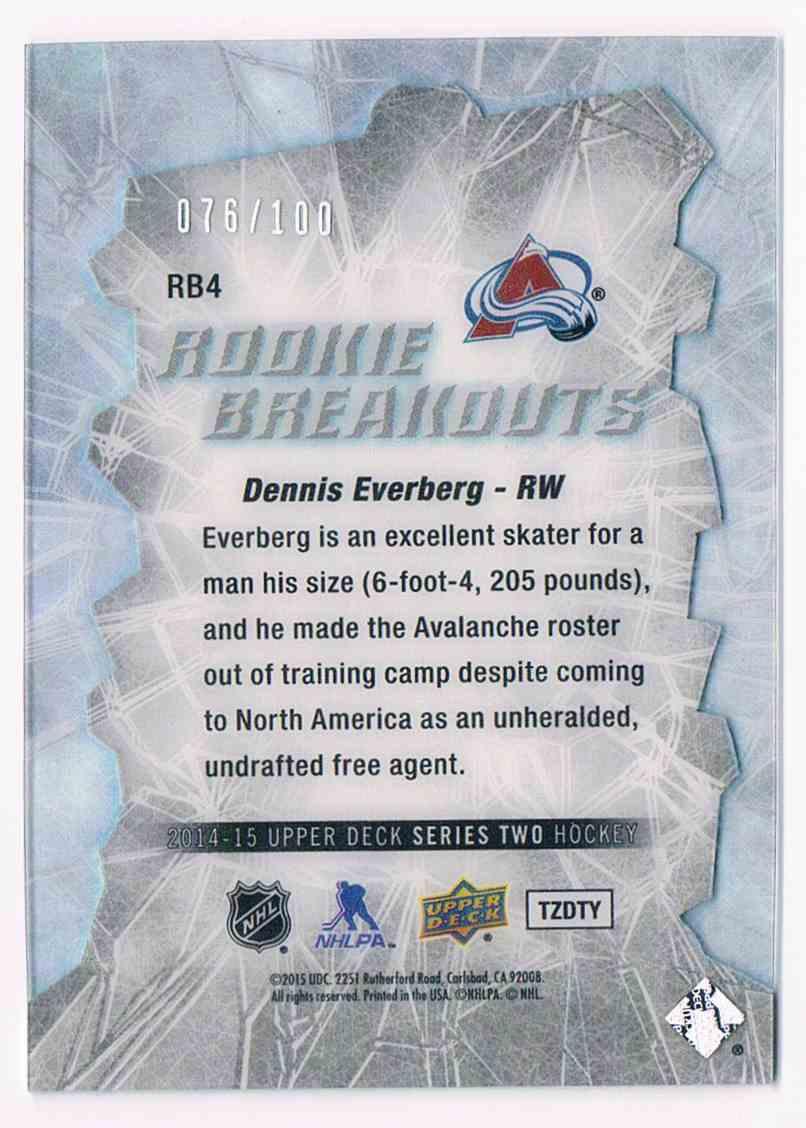 2014-15 Upper Deck Rookie Breakouts Dennis Evenberg #RB4 card back image