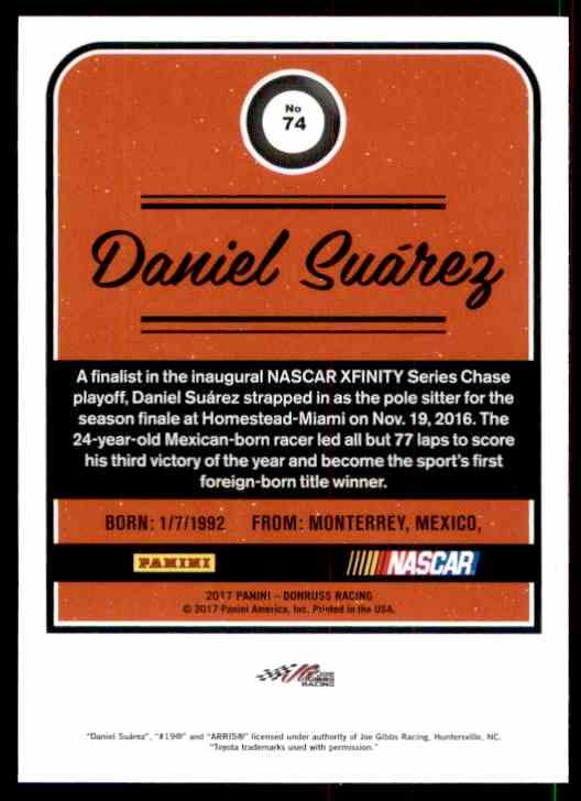 2017 Donruss Daniel Suarez #74 card back image
