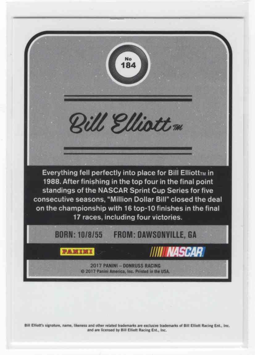 2017 Panini Donruss Racing Bill Elliott #184 card back image