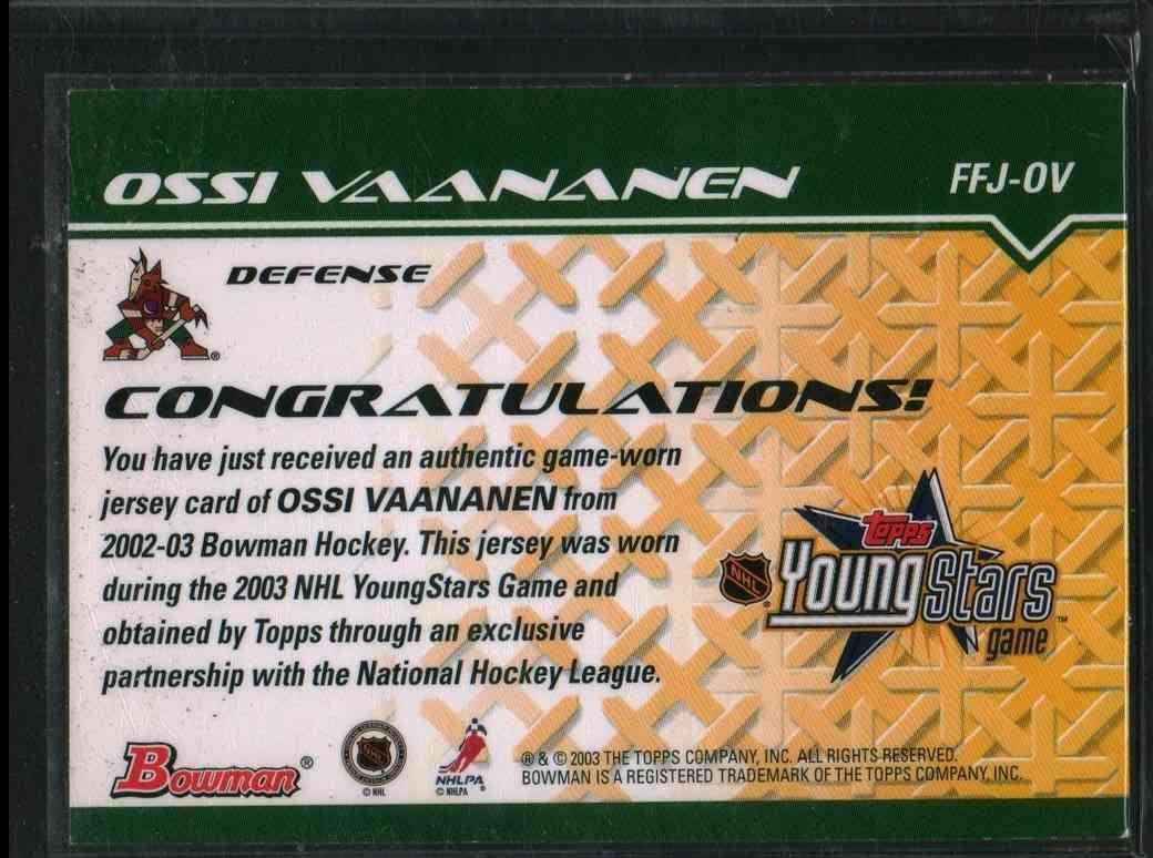 2002-03 Topps Young Star Ossi Vaananen #FFJ-OV card back image