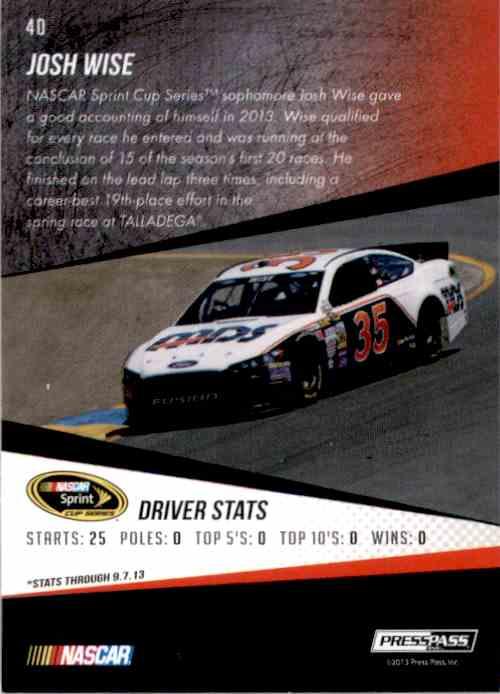 2014 Press Pass Josh Wise #40 card back image
