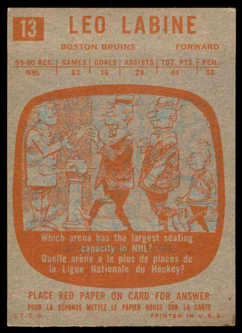 1960-61 Topps Leo Labine #13 card back image