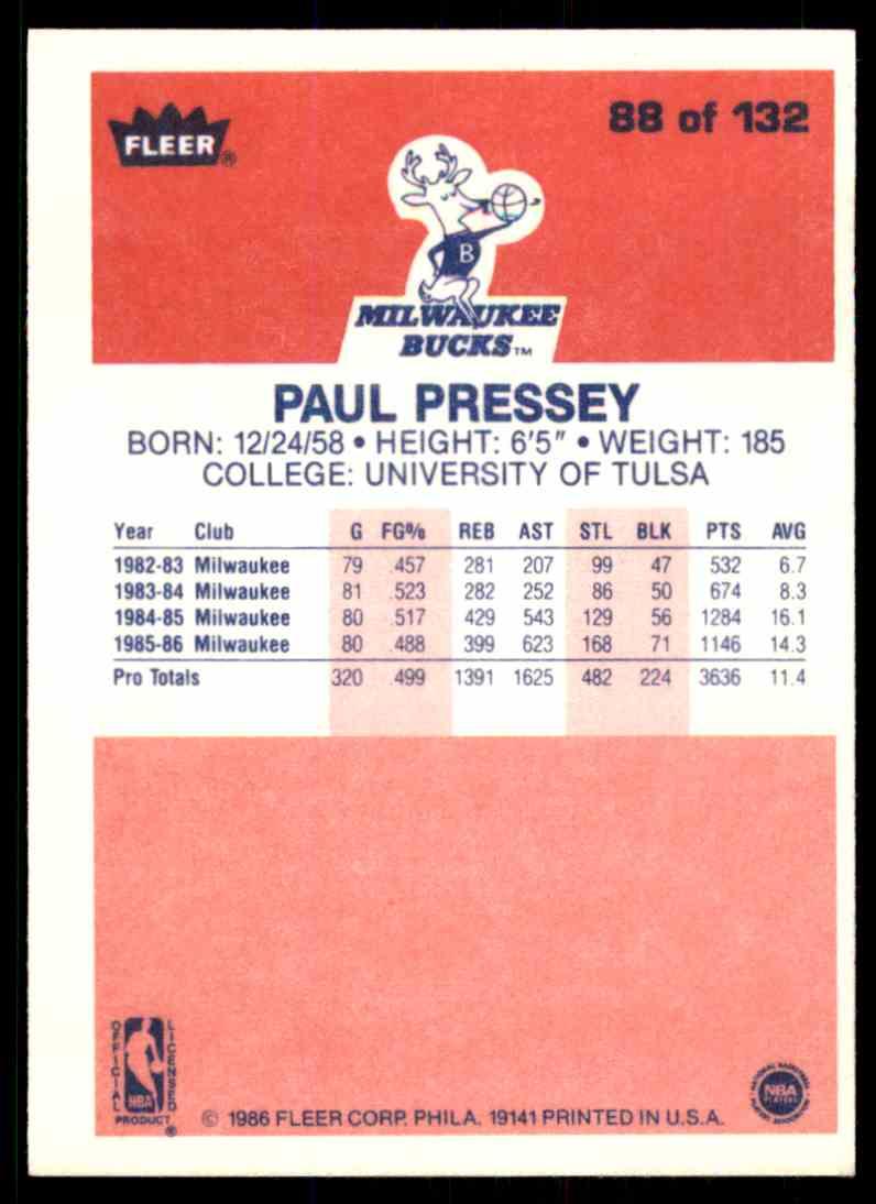 1986-87 Fleer Paul Pressey #88 OF 132 card back image