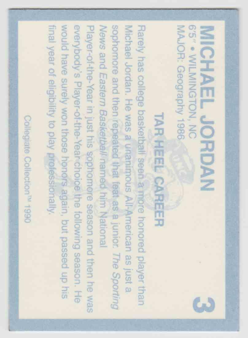 1990-91 Collegiate Collection North Carolina Michael Jordan #3 on