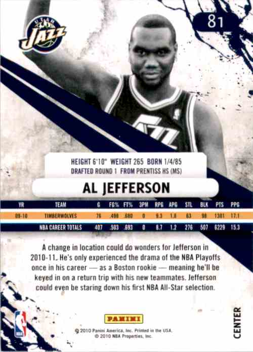 2010-11 Rookies And Stars Al Jefferson #81 card back image