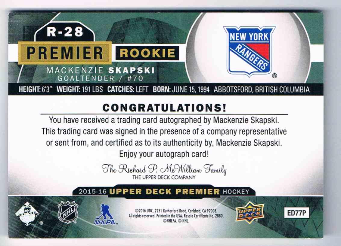 2015-16 Upper Deck Premier Rookie Autograph MacKenzie Skapski #R-28 card back image