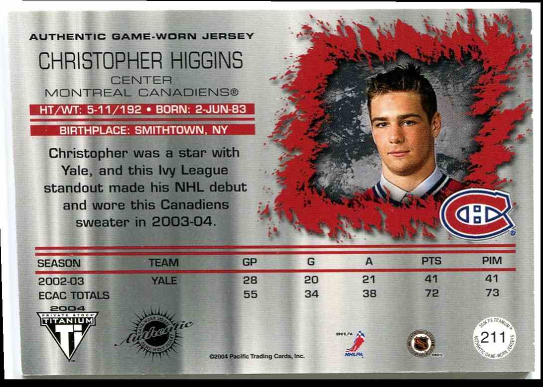 2003-04 Titanium Jsy RC Chris Higgins #211 card back image
