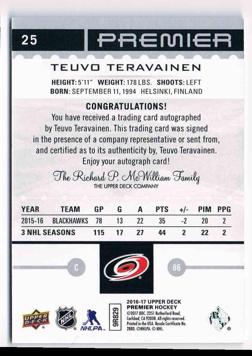 2016-17 Upper Deck Premier Autograph Silver Spectrum Teuvo Teravainen #25 card back image
