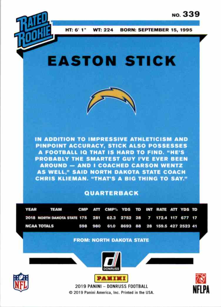 2019 Panini Donruss Rated Rookie Easton Stick #339 card back image