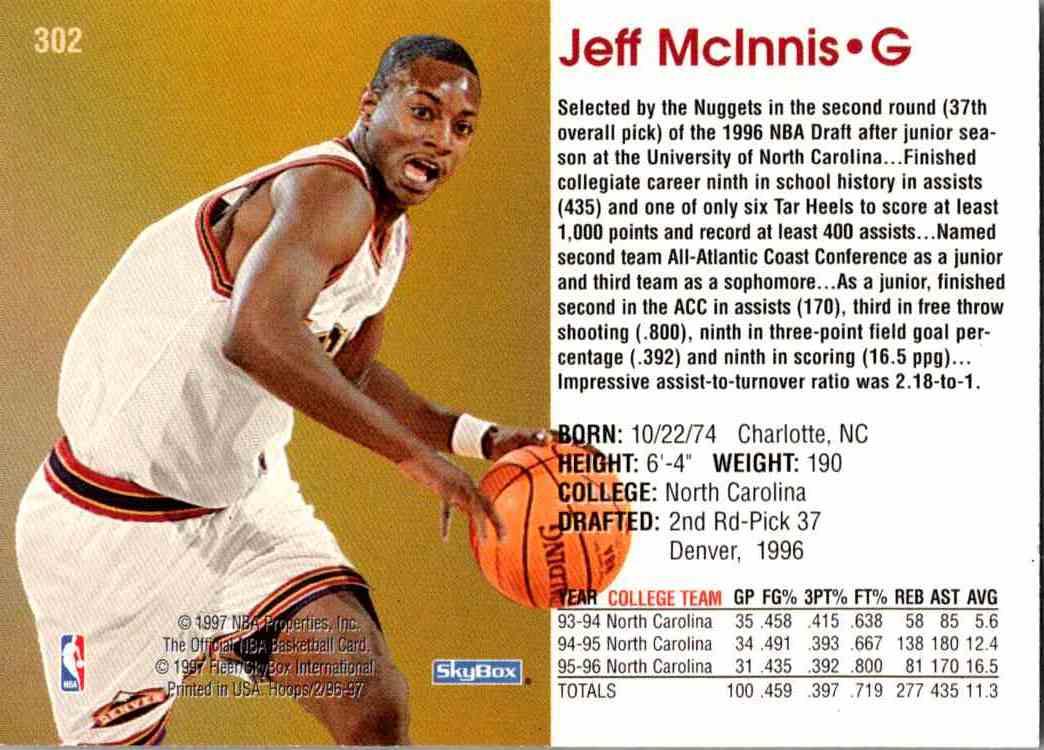 1997-98 NBA Hoops Jeff McInnis #302 card back image