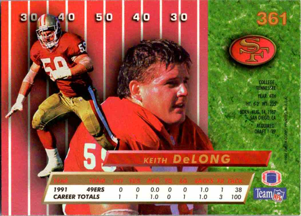 1992 Fleer Ultra Keith DeLong #361 card back image