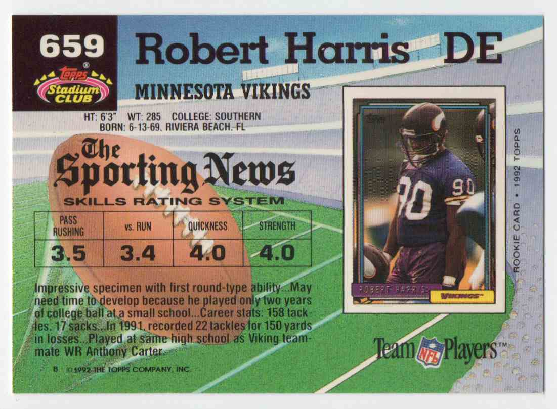 1992 Stadium Club Robert Harris #659 card back image