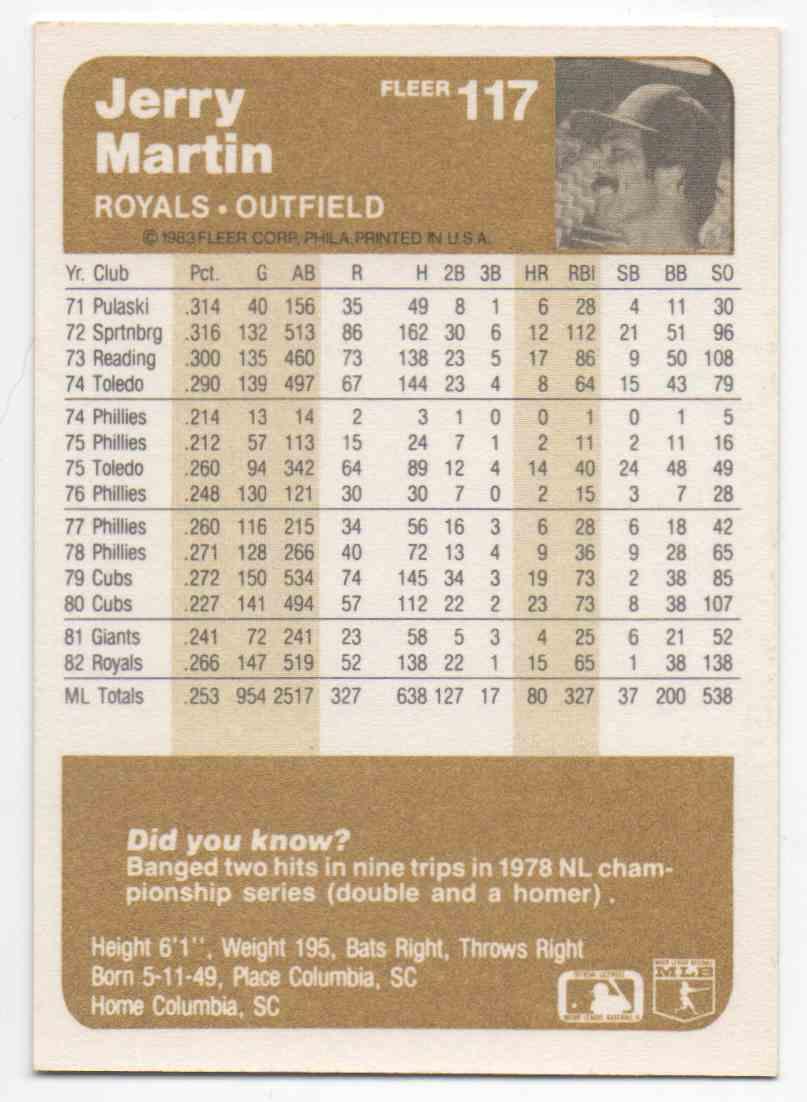 1983 Fleer Jerry Martin #117 card back image