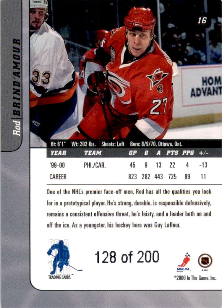 2000-01 Bap Signature Series Ruby Rod Brind'Amour #16 card back image