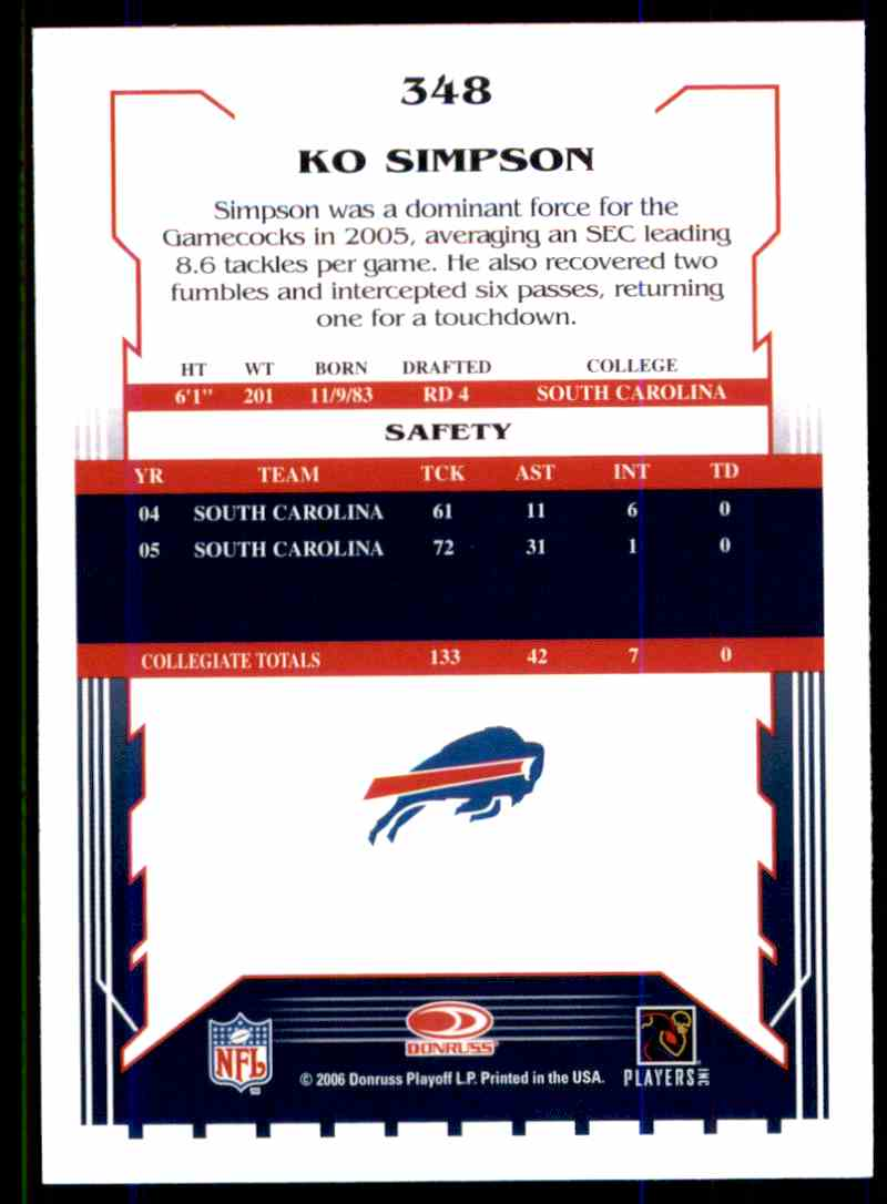 2006 Score Ko Simpson RC #348 card back image