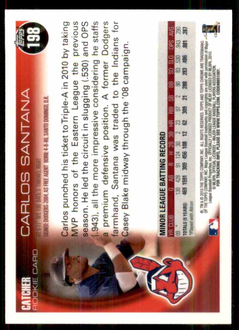 2010 Topps Chrome Carlos Santana #198 card back image