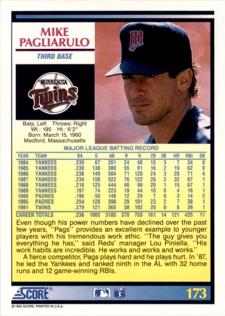 1992 Score Mike Pagliarulo #173 card back image